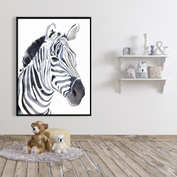 Framed 36 x 48 - Watercolor zebra