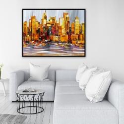 Framed 36 x 48 - Orange buildings