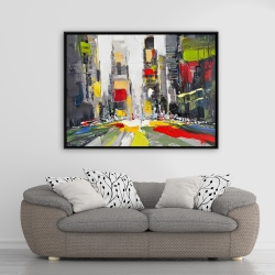Framed 36 x 48 - Abstract texturized cityscape