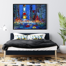 Framed 36 x 48 - Colorful and abstract times square by night