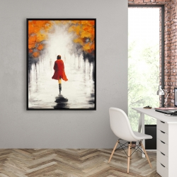 Framed 36 x 48 - Woman with a red coat by fall