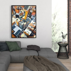 Framed 36 x 48 - High top view of buildings in new york