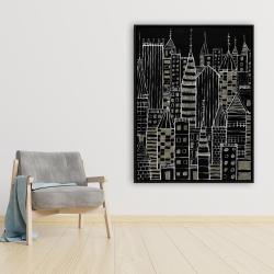 Framed 36 x 48 - Illustrative dark city