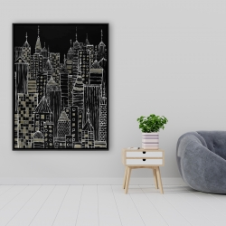 Framed 36 x 48 - Illustrative city towers