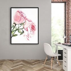 Framed 36 x 48 - Watercolor pink roses