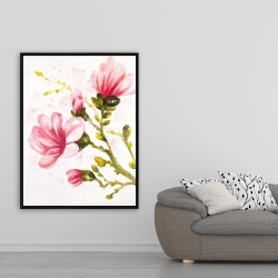 Framed 36 x 48 - Watercolor magnolia flowers