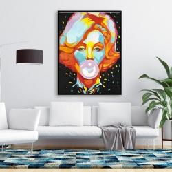 Framed 36 x 48 - Colorful maryline monroe bubblegum