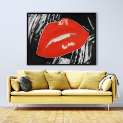 Framed 36 x 48 - Kissable glossy lips on a black background