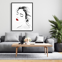 Framed 36 x 48 - Right side watercolor serenely lady portrait