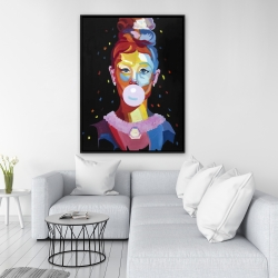 Framed 36 x 48 - Colorful audrey hepburn portrait with bubblegum