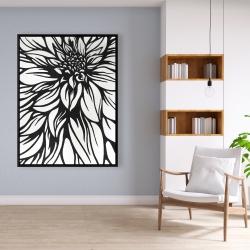Framed 36 x 48 - Dahlia flower outline style