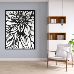 Framed 36 x 48 - Dahlia flower outline style