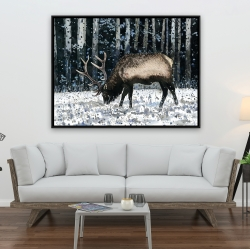 Framed 36 x 48 - Caribou in the winter forest