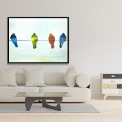 Framed 36 x 48 - Perched abstract birds