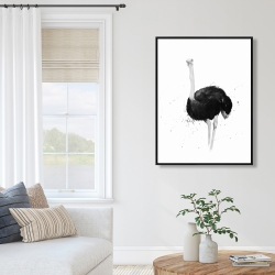 Framed 36 x 48 - Ostrich in watercolor