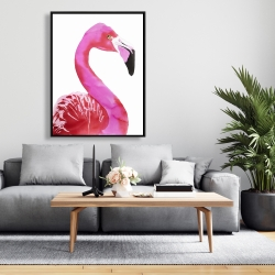 Framed 36 x 48 - Watercolor proud flamingo profile