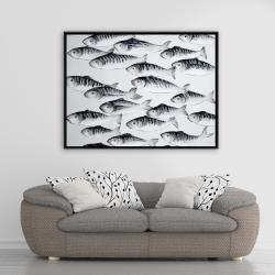 Framed 36 x 48 - Gray school of fish