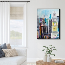 Framed 36 x 48 - Colorful cityscape of manhattan