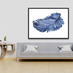 Framed 36 x 48 - Watercolor blue feather
