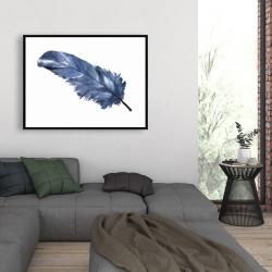 Framed 36 x 48 - Blue feather