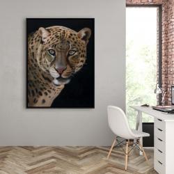 Framed 36 x 48 - Realistic fierce leopard