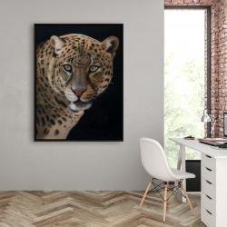 Framed 36 x 48 - Realistic fierce leopard