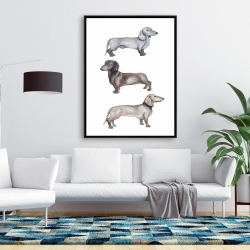 Framed 36 x 48 - Dachshund dogs