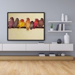Framed 36 x 48 - Bird family