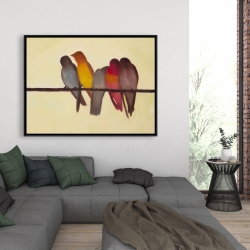 Framed 36 x 48 - Five birds on a branch