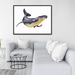 Framed 36 x 48 - Watercolor blue whale