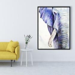 Framed 36 x 48 - Half head colorful elephant