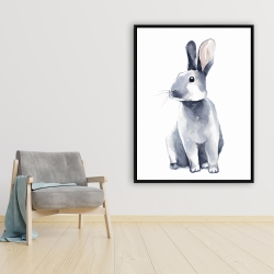 Framed 36 x 48 - Gray curious rabbit