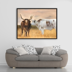 Framed 36 x 48 - Two cows kissing by sunset