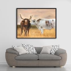 Encadré 36 x 48 - Deux vaches s'embrassant au couché du soleil