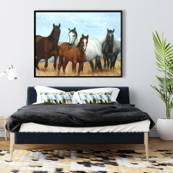 Framed 36 x 48 - Horses in the meadow by the sun