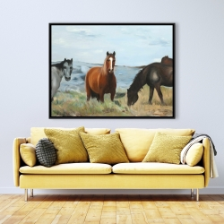 Framed 36 x 48 - Horses eating in the meadow