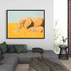 Framed 36 x 48 - Elephant and its little one