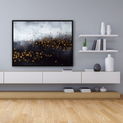 Framed 36 x 48 - Two shades of gray with gold dots