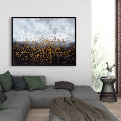 Framed 36 x 48 - Gold paint splash on gray background
