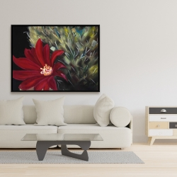 Framed 36 x 48 - Echinopsis red cactus flower