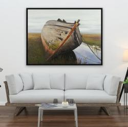 Framed 36 x 48 - Old abandoned boat in a swamp