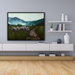 Framed 36 x 48 - Sheep in the countryside