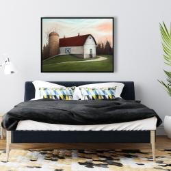 Framed 36 x 48 - White barn view