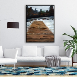 Framed 36 x 48 - Dock and lake