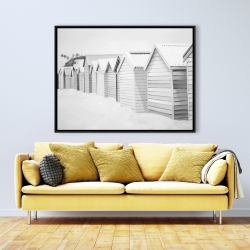 Framed 36 x 48 - Beach cabins