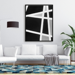 Framed 36 x 48 - Black and white abstract lines