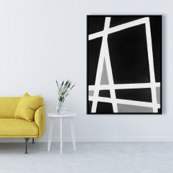 Framed 36 x 48 - Black and white abstract shapes