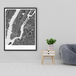 Framed 36 x 48 - New york graphic map