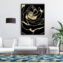 Framed 36 x 48 - Cutout black rose