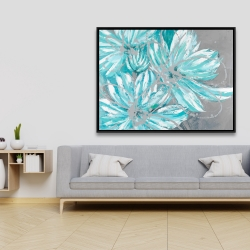 Framed 36 x 48 - Three little abstract blue flowers